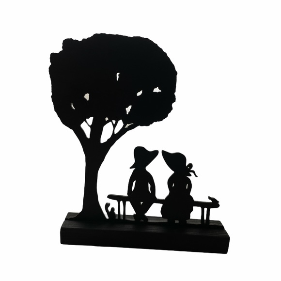 Vintage Boy & Girl By the Tree Wooden Silhouette
